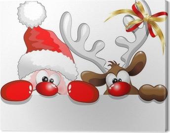 Obraz na plátně Babbo Natale e Renna-Santa Claus a sobů pozadí
