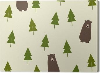 Obraz na plátně Bear and forest seamless background.