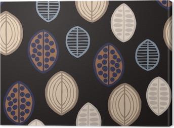 Obraz na Plátně Bezešvé květinový vzor s primitivními listy. Bezešvé květinový vzor s primitivními listy. Tribal etnický původ, Taupe tóny na černém pozadí. Textilní design.