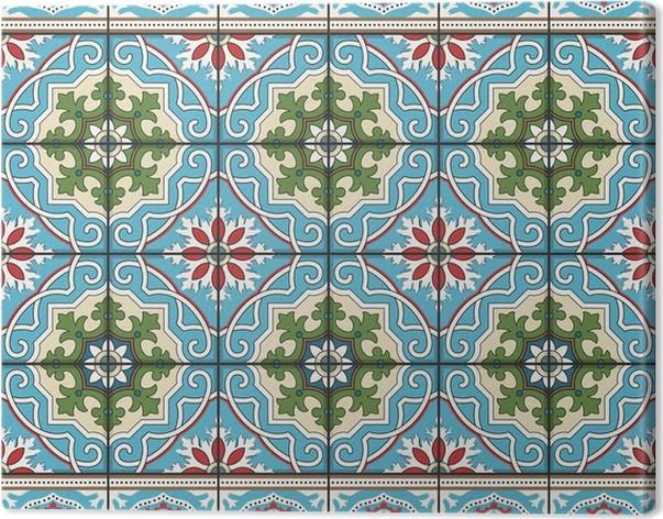 Obraz na plátně Bezešvé vzor z obkladů a hranice. Moroccan, portugalština, azulejo ozdoby. - Criteo