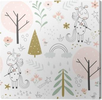 Obraz na plátně Roztomilý jednorožec akvarel ručně kreslené veselé vánoční  ilustrace • Pixers® • Žijeme pro změnu eb5c8d0f17a