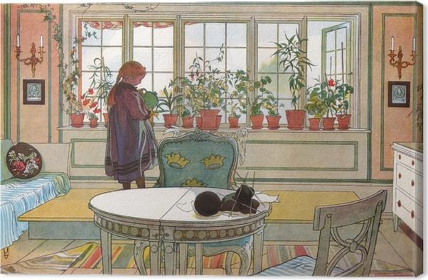 Obraz na plátně Carl Larsson - Цветы на подоконнике - Reproductions