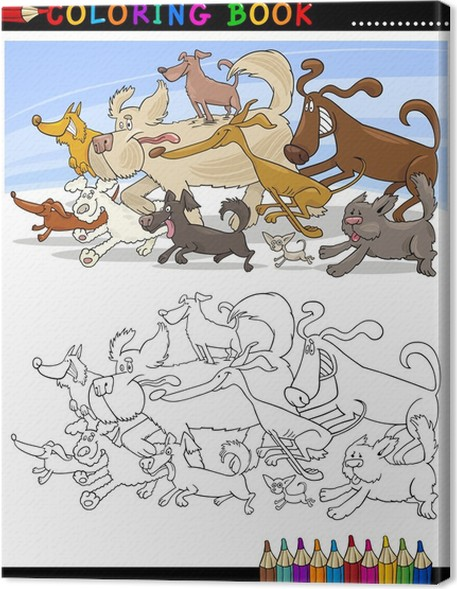 Obraz na plátně Cartoon Psi omalovánky nebo Page - Savci