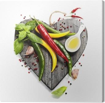 Obraz na Plátně Čerstvá zelenina na tvaru srdce prkně