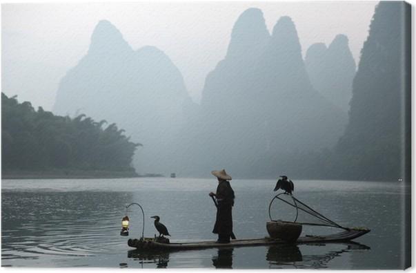 Obraz na plátně Číňan rybolov s kormorány ptáky - Venkov