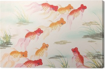 Obraz na plátně Čínská malba stříbřitý