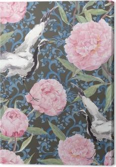Obraz na Plátně Crane ptáci, květy pivoňky. Květinová opakování čínské vzor. Akvarel