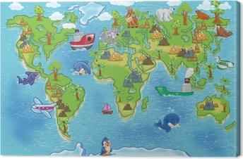 Obraz na Plátně Děti mapa světa