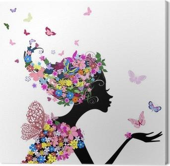 Obraz na Plátně Dívka s květinami a motýly