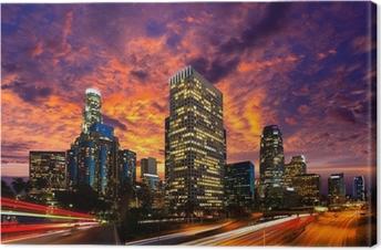 Obraz na plátně Downtown LA noc Los Angeles sunset panorama Kalifornie