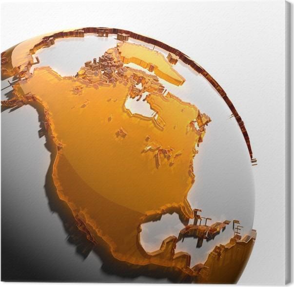 Obraz na plátně Fragment Země s kontinenty oranžového skla - Amerika