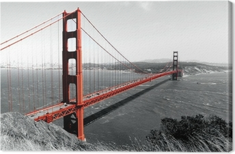 Obraz na Plátně Golden Gate Bridge Red Pop na B