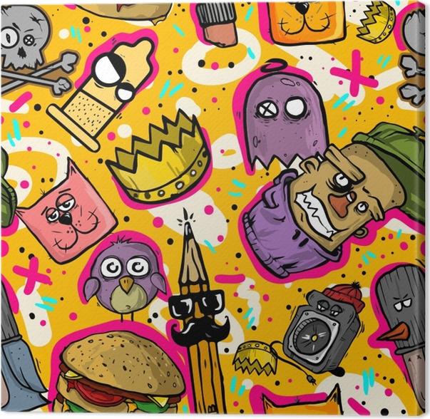 Obraz na plátně Graffiti bezešvĂ© textury. Nálepka bomba pozadĂ - Graffiti