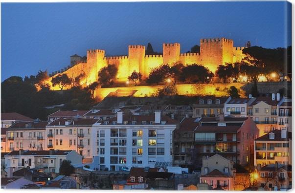 Obraz na plátně Hrad Sao Jorge, Lisabon noční pohled - Památky