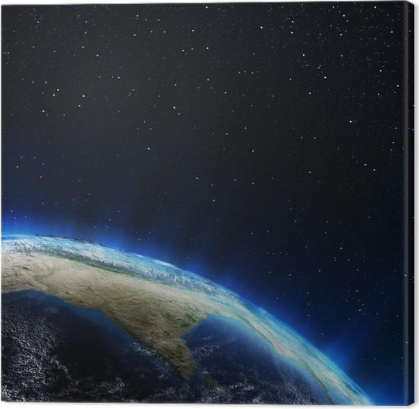 Obraz na plátně Indie a Himaláje z vesmíru - Planety