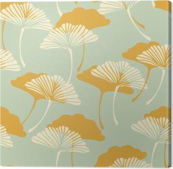 Obraz na Plátně Japonský styl z listů jinanu dvoulaločného bezešvé dlaždice ve zlatě a světle modré barevné palety