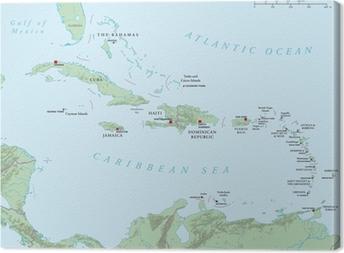 Obraz na plátně Karibik - Velké a Malé Antily - Politická mapa