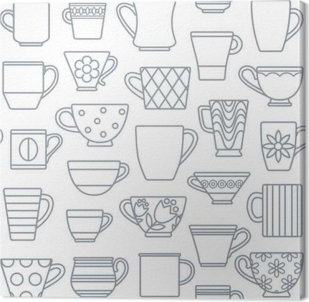 Obraz na plátně Kávové šálky a hrnky nastínit ikony bezešvé podtisk 1 - Pití