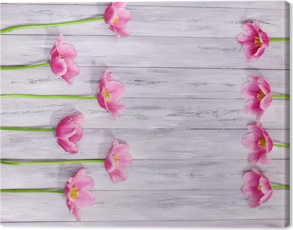 Obraz na plátně Krásné květiny na barevné dřevěné pozadí • Pixers ... 1773e3f6bcb