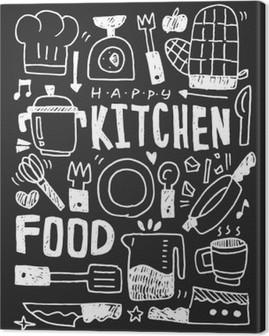 Obraz na Plátně Kuchyň prvky čmáranice kreslené ručně řádek ikon, eps10