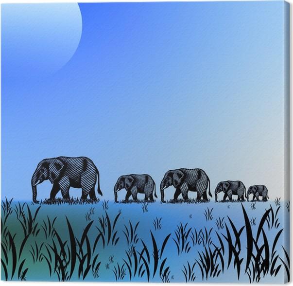 Obraz na plátně Les Bleus sloni ciel - Savci