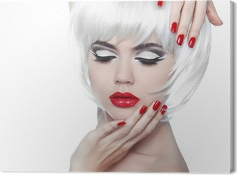 Obraz na plátně Make-up a účes. Červené rty a pěstěné nehty. Módní Beau