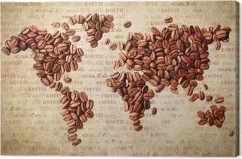 Obraz na plátně Mapa světa kávových zrn