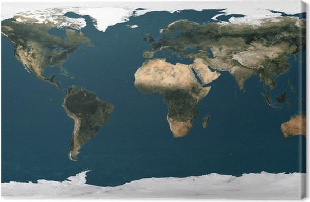 mapa sveta satelit Obraz na plátně Mapa světa satelit • Pixers® • Žijeme pro změnu mapa sveta satelit