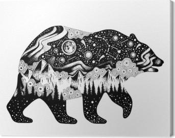 Obraz na plátně Medvěd silueta pro tisk trička nebo dočasné tetování. ručně  kreslený surrealistický design 12d8b86f34
