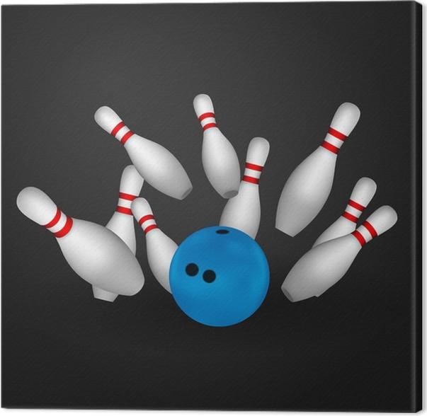 Obraz na plátně Mísa a kuželkové dráhy. Bowling koncepce. - Individuální sporty