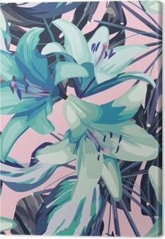 Obraz na Plátně Modré lilie a listy bezproblémové pozadí