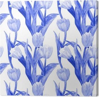 Obraz na plátně Monochromatické bezešvé textury s modrými tulipány pro váš  design. akvarel malování def1c62a3e