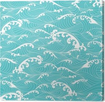 Obraz na Plátně Mořské vlny, pruhy vzor bezešvé ručně malovaná asijském stylu