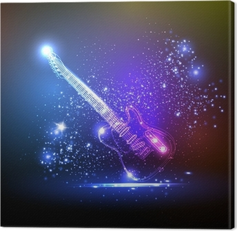 Obraz na plátně Neonové světlo kytara, grunge music