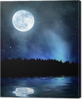 Obraz na plátně Noční oblohy s hvězdami a měsíc
