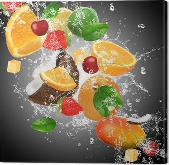 Obraz na Plátně Ovoce se stříkající vodou