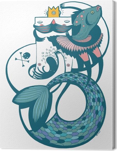 Obraz na plátně Pan mořská panna v modrém -