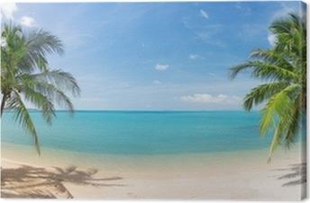 Obraz na Plátně Panoramatický tropické pláže s kokosové palmy