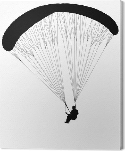 Obraz na plátně Paragliding silueta - vektor - Extrémní sporty