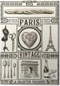 Obraz na plátně Plakát Paříž Vintage