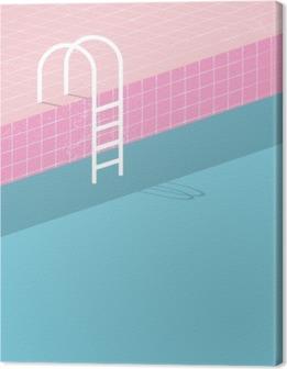 Obraz na Plátně Plavecký bazén ve stylu vintage. Staré retro růžové dlaždice a bílá žebřík. Letní plakát pozadí šablony.