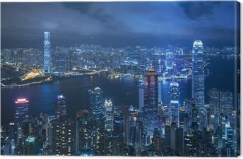Obraz na plátně Pohled na Victoria přístavu z vrcholu v Hong Kongu