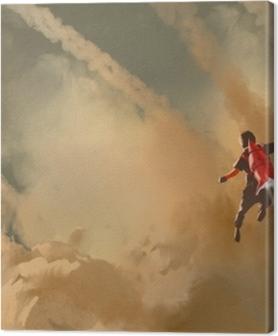 Obrazy na plátně premium Chlapec létání v zatažené obloze s raketou tryskového balení, ilustrace malování