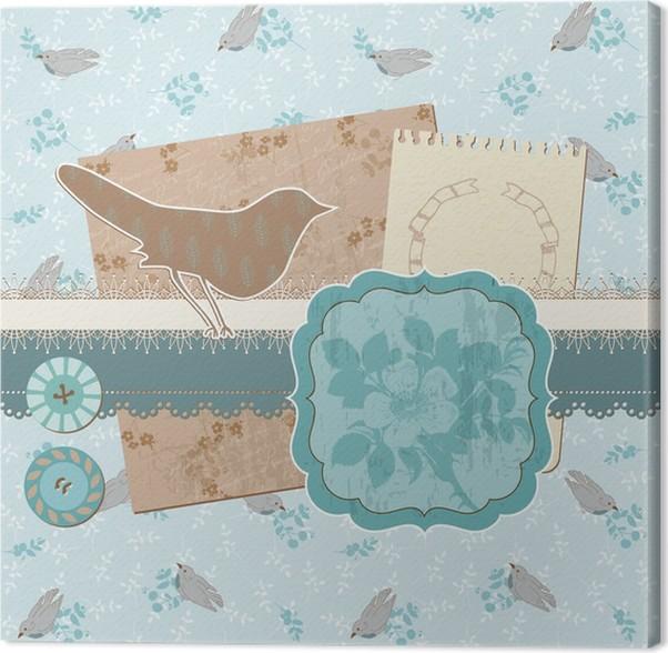 Obraz na plátně Prvky Scrapbook Design - klasická Ptáci a květiny - Slavnosti
