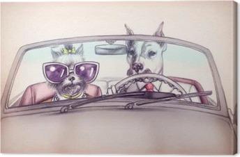 Obraz na plátně Psi v autě .fashion zvířat .watercolor ilustrační