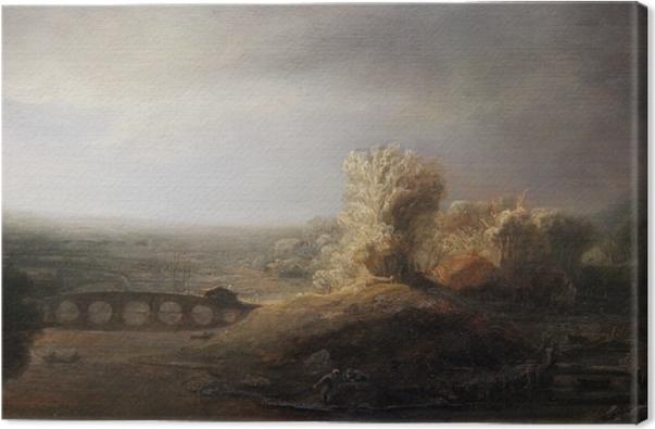 Obraz na plátně Rembrandt - Krajina s obloukový most - Reprodukce