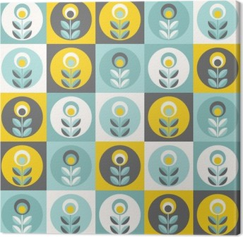 Obraz na Plátně Retro květinovým vzorem, geometrické bezešvé květiny