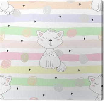 Obraz na plátně Roztomilé kočky barevné bezešvé vzorek pozadí c4a5443545d