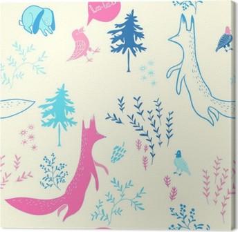 Obraz na plátně Roztomilý zvířata v lese. Bezešvé vzor. Ručně malovaná ilustrace s liškou, zajíček, ptáky a květinové prvky. Přírodní design vektor pozadí.