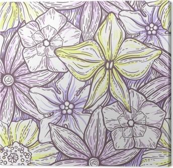 Obraz na plátně Ručně kreslený vzor s dekorativním květinovým ornamentem.  stylizované barevné květy. letní 0dc85f7a82